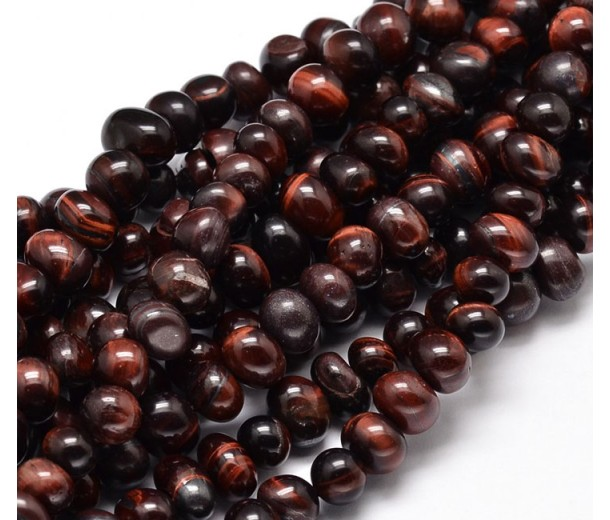 Tiger Eye Beads, Dark Red, Medium Nugget