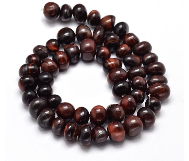Tiger Eye Beads, Dark Red, Medium Nugget