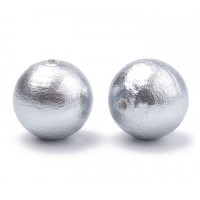 Cotton Imitation Pearls, Grey Mist, 8mm Round, Pack of 10
