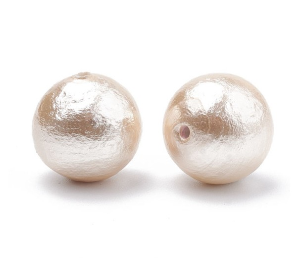 Cotton Imitation Pearls, Light Peach, 10mm Round, Pack of 5