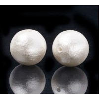 Cotton Imitation Pearls, White, 10mm Round, Pack of 5