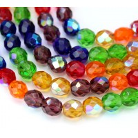 Bright Mix AB Czech Glass Beads, 8mm Faceted Round, 7 Inch Strand