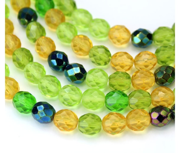 Spring Mix Czech Glass Beads, 8mm Faceted Round, 7 Inch Strand