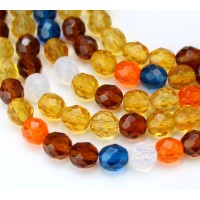 Sunrise Mix Czech Glass Beads, 8mm Faceted Round, 7 Inch Strand