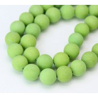 Light Apple Green Matte Jade Beads, 10mm Round