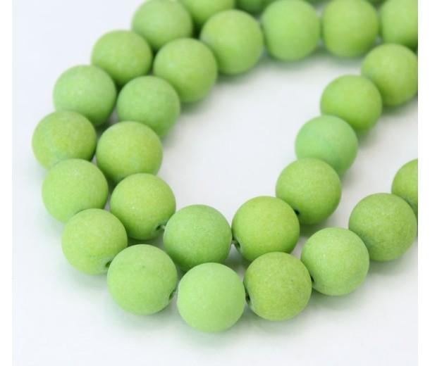 Light Apple Green Matte Jade Beads, 10mm Round