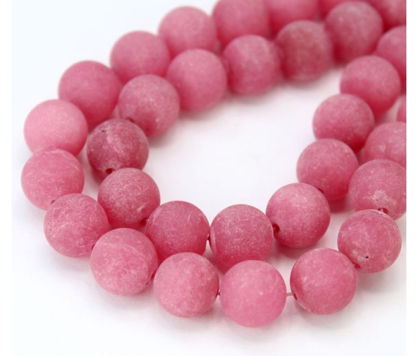 Berry Pink Matte Jade Beads, 10mm Round