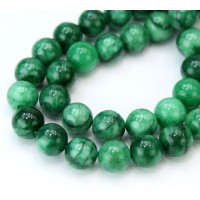 Variegated Dark Green Mountain Jade Beads, 10mm Round