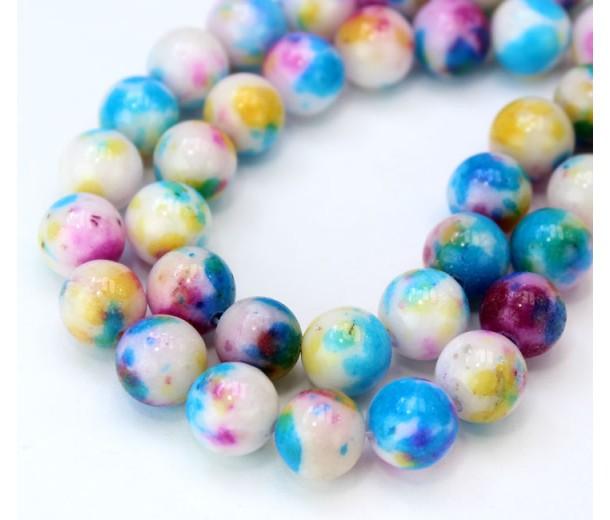 Confetti Mix Multicolor Jade Beads, 10mm Round