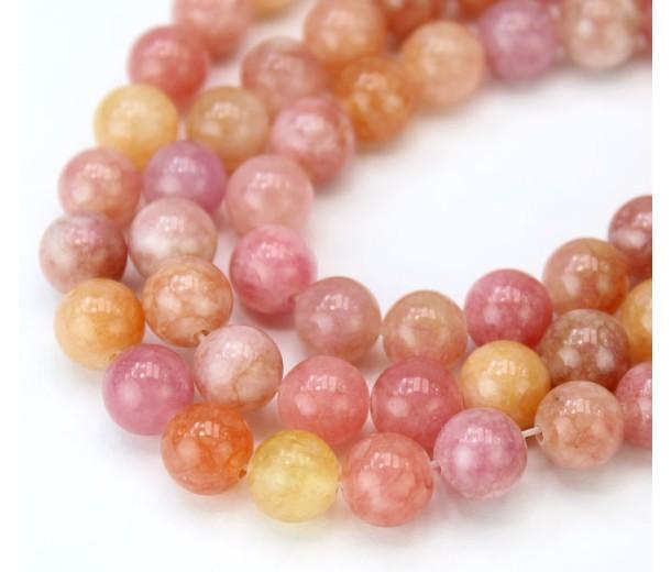 Autumn Pastel Mix Multicolor Jade Beads, 8mm Round