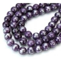 Dark Purple with Silver Paint Mountain Jade Beads, 8mm Round