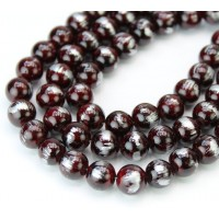 Red Brown with Silver Paint Mountain Jade Beads, 8mm Round