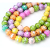 Multicolor with Silver Paint Mountain Jade Beads, 8mm Round