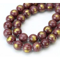 Rose Brown with Gold Paint Mountain Jade Beads, 10mm Round