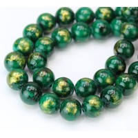 Dark Green with Gold Paint Mountain Jade Beads, 10mm Round