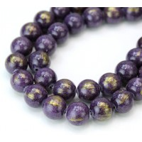 Dark Purple with Gold Paint Mountain Jade Beads, 10mm Round