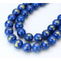 Blue with Gold Paint Mountain Jade Beads, 10mm Round