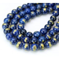 Dark Blue with Gold Paint Mountain Jade Beads, 8mm Round