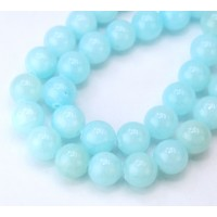 Blue Aqua Mountain Jade Beads, 10mm Round