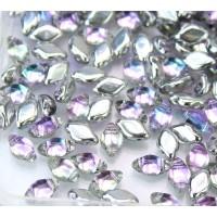8x5mm Matubo GemDuo 2-Hole Seed Beads, Backlit Pink Mist, 10 Gram Bag