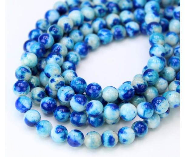 Light and Dark Blue Multicolor Jade Beads, 6mm Round