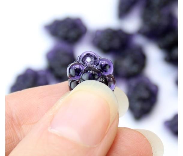 Dark Purple Czech Glass Beads, 11x16mm Grape Bunch, Pack of 12