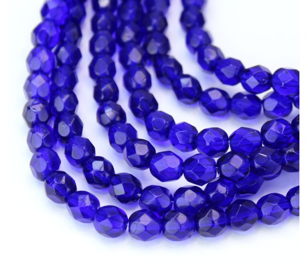 Cobalt Blue Czech Glass Beads, 6mm Faceted Round, 7 Inch Strand