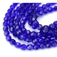 Cobalt Blue Czech Glass Beads, 6mm Faceted Round, 7 Inch Strand