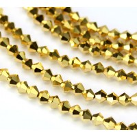 Aurum Gold Coated Czech Crystal Beads by Preciosa, 4mm Faceted Bicone, Strand