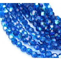 Capri Blue AB Czech Glass Beads, 6mm Faceted Round