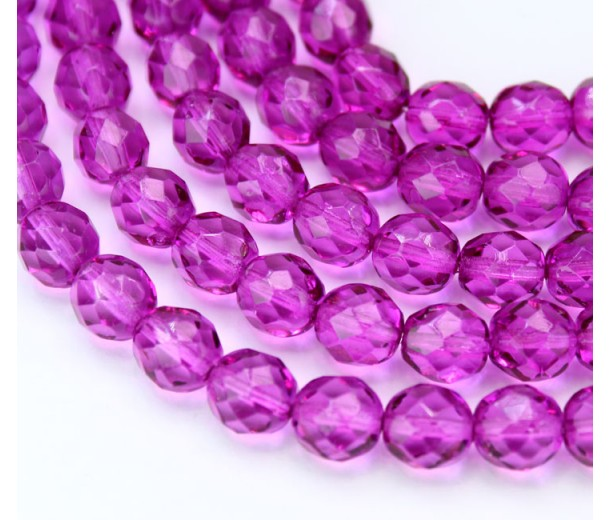 Orchid Czech Glass Beads, 8mm Faceted Round, 7 Inch Strand