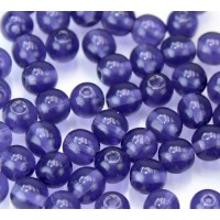 Deep Violet Czech Glass Beads, 6mm Round, 2.75 Inch Tube