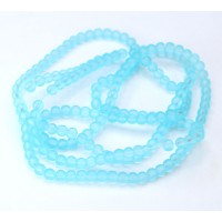 Light Blue Frosted Glass Beads, 4mm Smooth Round