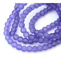 Light Purple Frosted Glass Beads, 4mm Smooth Round