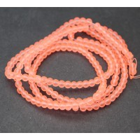 Neon Coral Frosted Glass Beads, 4mm Smooth Round