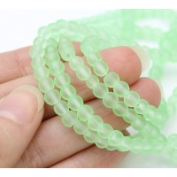 Pastel Green Frosted Glass Beads, 4mm Smooth Round