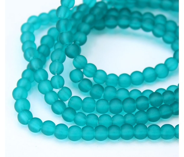 Teal Frosted Glass Beads, 4mm Smooth Round