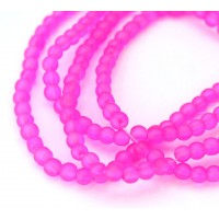 Fuchsia Pink Frosted Glass Beads, 4mm Smooth Round