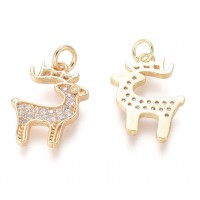 15mm Small Reindeer Stag Charm with Rhinestones, Gold Tone
