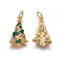 18mm Christmas Tree Enamel Charm with Rhinestones, Gold Tone