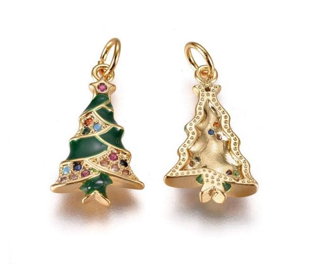 18mm Christmas Tree Enamel Charm with Rhinestones, Gold Tone