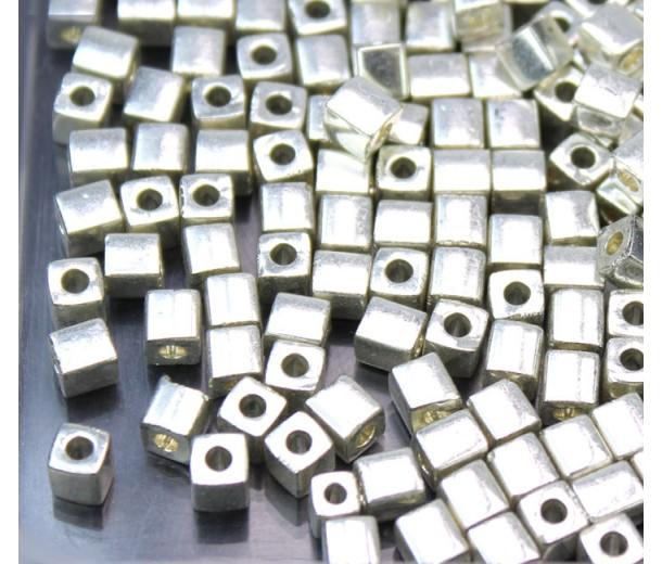 4mm Miyuki Square Beads, Galvanized Silver, 10 Gram Bag