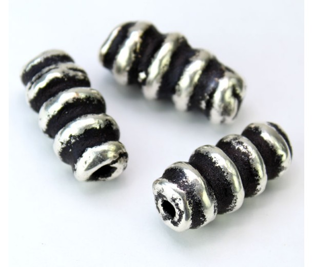 13x30mm Spiral Column Metalized Ceramic Bead, Antique Silver