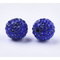 Sapphire Blue Rhinestone Pave Clay Beads, 12mm Round, Pack of 5