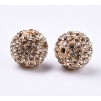 Light Peach Rhinestone Pave Clay Beads, 12mm Round, Pack of 5