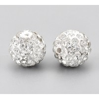 Crystal on White Rhinestone Pave Clay Beads, 12mm Round, Pack of 5