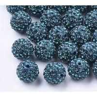 Blue Zircon Rhinestone Pave Clay Beads, 12mm Round, Pack of 5