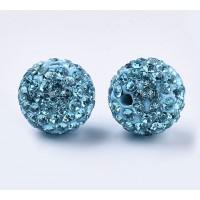 Aqua Blue Rhinestone Pave Clay Beads, 12mm Round, Pack of 5