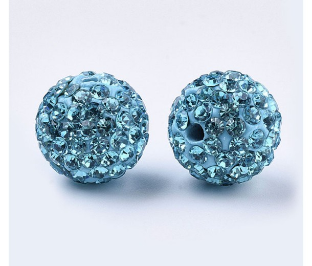 Aqua Blue Rhinestone Pave Clay Beads, 12mm Round, Pack of 5