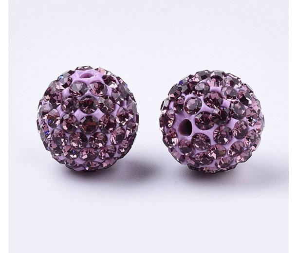Mauve Rhinestone Pave Clay Beads, 12mm Round, Pack of 5